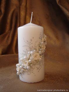 "Свадебные свечи. Свеча ""Жемчуг"" (Свадьбы) Wedding Unity Candles, Pillar Candles, Wax Candles, Pregnancy Information, Beautiful Candles, Candle Set, Decoration, Different Colors, How To Make"