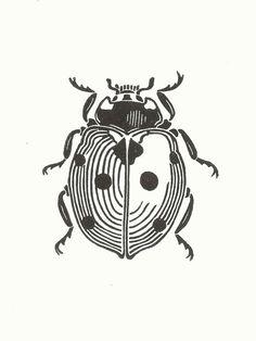 Ladybird Linocut Print // Handmade // Original