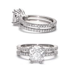 Cushion-dream! Custom-made ring in white gold with a 2ct cushion-cut diamond in the center. We love it!