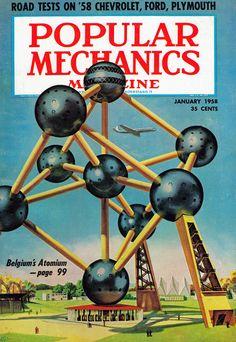 Belgium's Atomium on the cover of Popular Mechanics Magazine, January 1958