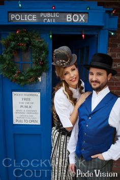Wil Wheaton and his wife Anne in the TARDIS. Some of my franchises have crossed the streams...