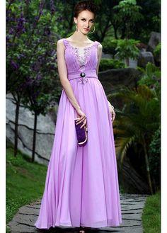 Chiffon A-line Jewel Neckline Long Prom Dress P2322  $140.79