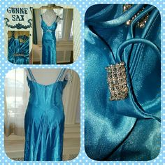 VTG Gunne Saxe blue charmeuse gown this isn't fabulous vintage condition and simply needs ironing. hard to do mmeasurements but I measured right across where the rhinestone hits the bus and it was about 15 inches across. Approximately 50 inches long. Vintage is always smaller than today's sizes. This is electrifyingly gorgeous. Reasonable offers are fine. Vintage Dresses Prom