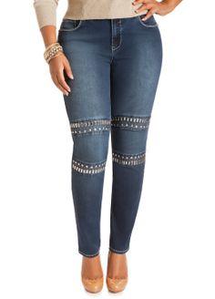 105ede5ccfef0 Ashley Stewart Women s Plus Size Aztec Studded Jeans ( 25.68) http   www