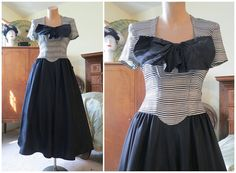 1940s Evening or Party Dress  Black and White by dandelionvintage,