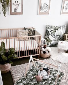 Inspo - - Inspo Nursery inspiration urban jungle nursery with palm tree prints in green and tan