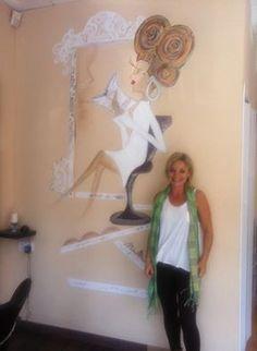 pintura mural en peluquería. Rosario Martínez.Valdemoro