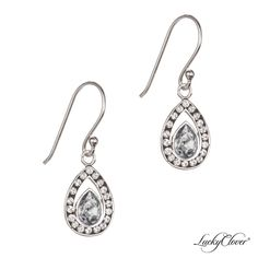 LuckyClover Jewelry - Viziare Crystal Antique Drop Earrings MADE WITH SWAROVSKI ELEMENTS, $52.00    Possible earrings? Jewerly, Swarovski Crystals, Aqua, Pendant Necklace, Drop Earrings, Personalized Items, Sterling Silver, Antiques, Bags