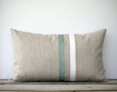 Sage and Cream Striped Lumbar Pillow (12x20) Modern Home Decor by JillianReneDecor - Minimal - Hemlock (More Colors)