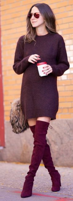 Merlot colored outfit w/ OTN boots