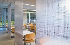 Capital One Franklin Cafe Renovation - Translucent Privacy Panels. Design by Mitchell Associates.