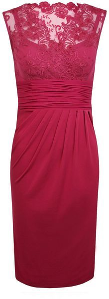 Alexon Dark Pink V Neck Lace Top Dress