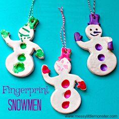 Fingerprint Snowman Christmas Ornament