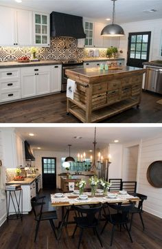 Who doesn't love the HGTV show Fixer Upper with Joanna + Chip Gaines? Check out. - Who doesn't love the HGTV show Fixer Upper with Joanna + Chip Gaines? Check out these 5 Ways to - Fixer Upper Kitchen, New Kitchen, Kitchen Dining, Fixer Upper Hgtv, Dining Table, Kitchen Small, Backsplash With Dark Cabinets, Kitchen Cabinets, Kitchen Backsplash