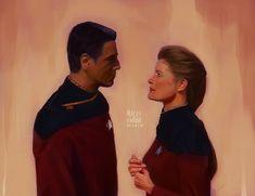 Robert Beltran, Kate Mulgrew, The Final Frontier, Star Trek Voyager, Movie Tv, Nerd, Fandoms, Fan Art, Stars