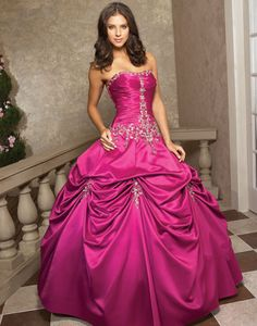 Pink and Silver Quinceanera Dress