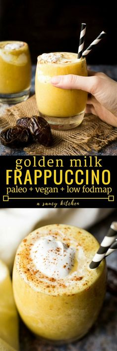 Golden Milk Frappuccino - a naturally sweetened frosty treat with anti-inflammatory benefits | Paleo + Vegan + Low FODMAP