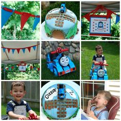 Another great Thomas party. I especially like the cake this mom made.