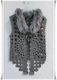 Crochet Vest - Detailed graphs and layout. Has circular motif on the back also T-shirt Au Crochet, Crochet Bolero Pattern, Cardigan Au Crochet, Pull Crochet, Gilet Crochet, Crochet Coat, Crochet Shirt, Crochet Jacket, Crochet Clothes