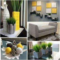 yellow decor for living room Living Room Decor Colors, Living Room Interior, Room Colors, Home Living Room, Living Room Designs, Paint Colors, Grey And Yellow Living Room, Classy Living Room, Dream Home Design