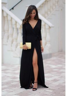 long sleeve black maxi dress with high leg slit