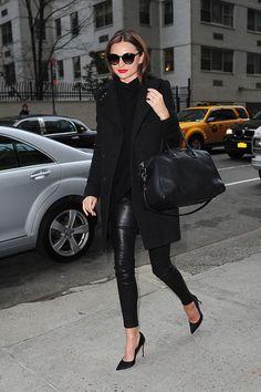 Givenchy coat, The Row sweater, Helmut Lang leather pants, Givenchy 'Antigona' satchel, Gianvito Rossi heels and Stella McCartney sunglasses