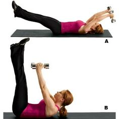 Arm Pull Over Straight-Leg Crunch | Women's Health Magazine