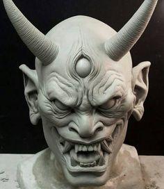 Badass Japanese Hannya demon mask sculpted by artist Norman Cabrera (@norman_cabrera_monsters). -- #hannya ...