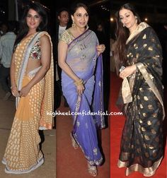 Wearing saris, these lovely ladies attended the Police Umang Show held in Mumbai recently. Tabu in her Raw Mango was easily our favorite. Who was yours?  P.S. Madhuri is wearing an Arpita Mehta sari and Richa, a Pankaj and Nidhi.