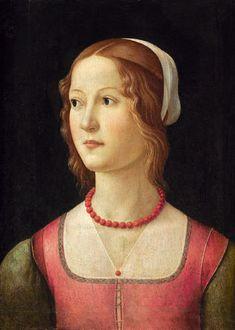 A Young Woman, ca. 1490-1494  by Domenico Ghirlandaio, 1449-1494   Museu Calouste Gulbenkian, Lisbon   Inv.  282 Coral necklace!
