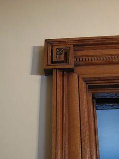 Nautilus Rosette--Spiral Square--Greek Key Door Casing - by . Front Door Design Wood, Double Door Design, Wooden Door Design, Main Door Design, Wooden Doors, Entrance Design, Interior Window Trim, Interior Exterior, Victorian Door