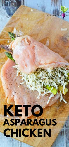 Keto Asparagus Stuffed Chicken a fast and easy chicken breast recipe that will knock your socks off. Roll out your chicken and stuff with melty cheese and perfect asparagus spears to create an under 3 Chicken Breast And Asparagus Recipe, Best Asparagus Recipe, Grilled Asparagus Recipes, Feta Chicken, Chicken Asparagus, Stuffed Chicken, Baked Chicken, Easy Meat Recipes, Side Dish Recipes