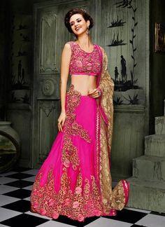 Deep Pink Color Pretty A Line Lehenga Choli Online ,Indian Dresses