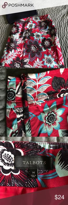 Talbots Red Floral Skirt EUC So fun for summer! This skirt hits at the knee. Side zipper. It is fully lined. 97% Cotton 3% Spandex. Pet free/Smoke free home. No trades or modeling. Talbots Skirts