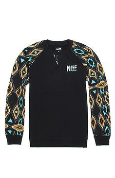 Neff Tribal Beach Crew Fleece - Mens Hoodie - Black -