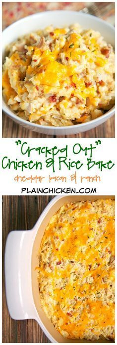"""""""Cracked Out"""" Chicken and Rice Bake - chicken, cheddar, bacon, Ranch and rice - quick and easy weeknight casserole! Use rotisserie chicken and this comes together in 5 minutes! SO good! We make this at least once a week!!"""