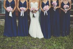 Blue bridesmaid dresses with pink bouquets | Real Wedding | Sarah Kathleen Photography