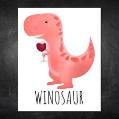 Winosaur Wine Lover Dinosaur Punny Poster by ALittleLeafy on Etsy