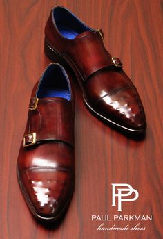 Paul Parkman Double monkstrap men's handmade slip-on shoes. Burgundy hand-painted leather upper with ostrich embossed captoe. Leather sole and blue leather lining.