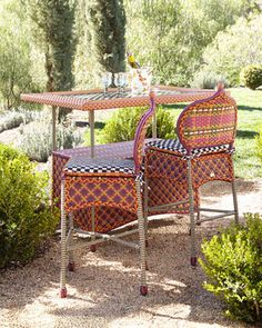 Sunset Outdoor Barstool & Bar Table by MacKenzie-Childs at Neiman Marcus.