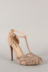 Anne Michelle Perton-12 Jeweled Cut Out T-Strap Heel. Super cute! If only they came in my size...