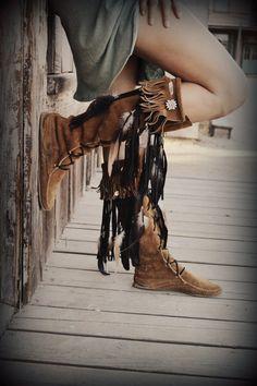 Upcycled Embellished Vintage Moccasin Fringe Boot.