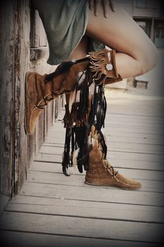 Sexy lace up modern hippie suede fringe boots for a carefree boho chic allure. For the best new Bohemian fashion trends FOLLOW http://www.pinterest.com/happygolicky/the-best-boho-chic-fashion-bohemian-jewelry-gypsy-/ @HappyGoLicky Custom Silver Jewelry on Etsy Custom Silver Jewelry on Etsy Custom Silver Jewelry on Etsy