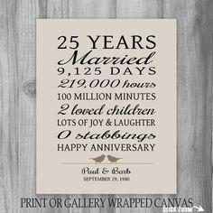 25 Year Anniversary Gift 25th Anniversary Art by PrintsbyChristine