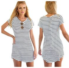 Striped Loose T-Shirt Mini Dress Top. I definitely would just use it as a long top, not alone! But Would be a cute tunic.