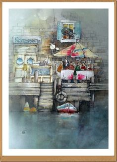 Ristorante - Restaurant - Gianluigi Punzo - Naples - Napoli - Italy - Italia - Watercolor - Acquerello - Aquarelle - Acuarela