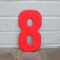 Vintage Metal Number 8 Chippy Painted Number 8 Old Rustic Number 8 Eight Marquee Number 8 Sign. $12.50, via Etsy.