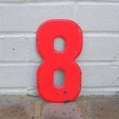 Vintage Metal Number 8 Chippy Painted Number 8 Old Rustic Number 8 Eight Marquee Number 8 Sign. $12.50, via Etsy.
