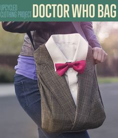 Bags and Totes! DIY Doctor Who Book Bag from Upcycled Clothing | http://diyready.com/diy-doctor-who-book-bag-from-upcycled-clothing-personalized-tote-bags/