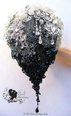Jewel bouquet goth black wedding amazing